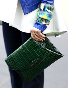 Givenchy s sharp envelope clutch got doused in a rich green hue. Next  Handbags 5e4be005bc3b1