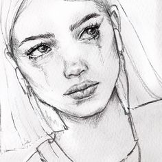 Image may contain: 1 person, drawing Crying Girl Drawing, Cry Drawing, Person Drawing, Girl Drawing Sketches, Portrait Sketches, Drawing People, Portrait Art, Drawing Faces, Crying Girl Sketch