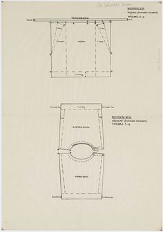 Patroontekening van een zijzak gedragen door vrouwen en meisjes onder de bovenrok. Schaal 1:4. 1948 #NoordHolland #Huizen
