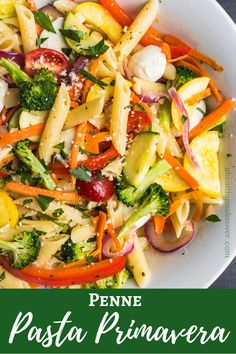 pasta recipes Penne Pasta Primavera - crunchy Summer veggies and tender pasta in a lemony-butter sauce! Pasta Paleo, Veggie Pasta Recipes, Vegetarian Recipes, Healthy Recipes, Vegetarian Soup, Light Pasta Recipes, Summer Pasta Recipes, Penne Recipes, Healthy Pastas