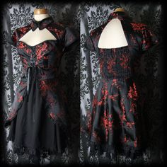 Gothic Black Red Oriental HELL BUNNY Chinese Lace Up Corset Dress 14 16 BN - £36.99
