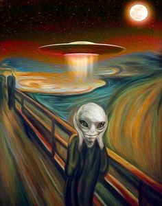 Alien in the Scream Painting by Munch Scream Parody, Scream Art, The Scream, Alien Painting, Trippy Painting, Painting Canvas, Aliens And Ufos, Ancient Aliens, Le Cri Munch