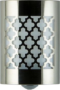 Look at this Brushed Nickel Moroccan LED CoverLite Night-Light Outdoor Wall Lighting, Living Room Lighting, Wall Sconce Lighting, Home Lighting, Room Lights, Wall Lights, Wall Light With Switch, Cnc Cutting Design, Led Night Light