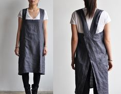 Linen Aprons from Bookhou - can be thrown on, no tying of straps needed