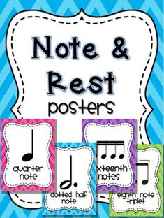 Music Note and Rest Posters - Chevron Brights by Marti Chandler Elementary Music, Elementary Schools, Music Classroom, Classroom Ideas, Classroom Organization, Teaching Music, Teaching Resources, Teaching Ideas, Music Education