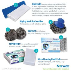 New color option for the Norwex Dish Cloth. See the Norwex scrubber products in this virtual party catalog image.