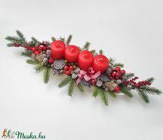 Adventi tál piros gyertyákkal (Decoflor) - Meska.hu Advent Candles, Xmas Decorations, Christmas Wreaths, Ornaments, Holiday Decor, Diy, Home Decor, Decoration Home, Bricolage