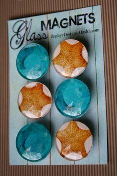 Glass Magnets  Starfish and Sea Glass by ZephyrDesignsAlaska, $8.00