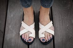 10 Sale Faye Nude Leather Sandals Flat Summer Shoes by abramey