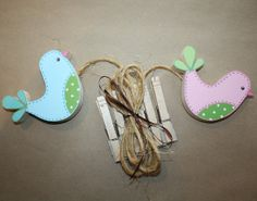 2 Birdies Wooden Girls Wall ART DISPLAY CLIPS for Kids Bedroom Baby Nursery Playroom. $22.00, via Etsy.