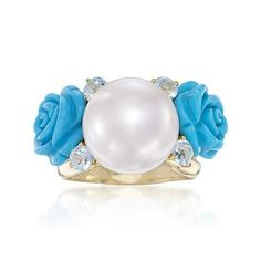 Composed Turquoise and Pearl Floral Ring With .90 ct. t.w. Blue Topaz In 18kt Gold Over Sterling Silver