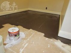 painted plywood sub flooring, this diy flooring is budget friendly, and the finished product is awesome!