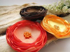 Large fabric flowers bulk, fall silk flowers, singed satin flower appliques, wholesale flowers for crafts (3pcs)- YELLOW- ORANGE- BROWN
