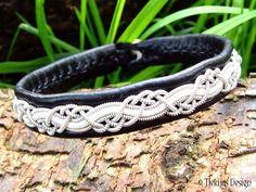 Sami Pagan Viking Bracelet HUGINN Swedish Lapland Black White Leather Bracelet with Pewter Braid and Antler Button - Custom Handmade.