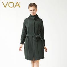 344.00$  Buy here - http://alifv9.worldwells.pw/go.php?t=32715966062 - VOA  Long Adiustable Waist Heavy Silk Parkas New Dark Green Pleated Slim Female Long-Sleeved Cotton Silk Coats M6156