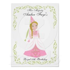 Royal Girl in Pink Print, also available in blue and yellow, in invitations and stickers and so much more!