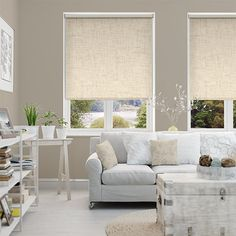 Tranquility Linen Alabaster Blackout Roller Blind from Blinds 2go