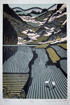 MORIMURA Ray 1993 Tanada. I am absolutely in awe of Ray Morimura's woodblock prints.