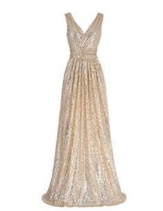 MisShow Empire V Neck Prom Party Dress Champagne Long Seq...