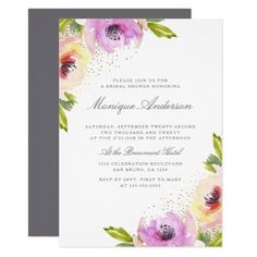 Watercolor Roses | Spring Bridal Shower Card - invitations personalize custom special event invitation idea style party card cards