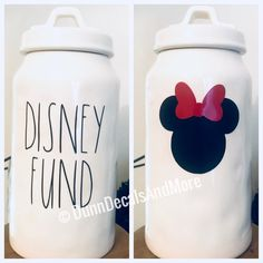 DECALS ONLY - Pottery not includedThis listing is for the decals pictured above - DISNEY FUND and Minnie Mouse silhouette. I can also do Mickey upon request :)These decals are displayed on a On Dancer Rae Dunn canister. Minnie Mouse Silhouette, Ray Dunn, Disney Kitchen, Disney Bathroom, Disney Home Decor, Disney Decorations, Disney Bedrooms, Disney Mickey, Disney Fun