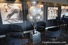 Yankee Stadium Bar Mitzvah - Silver & White Balloons & Vintage Baseball Photos {Party Planner: The Event of a Lifetime} - mazelmoments.com