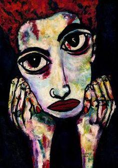 "Saatchi Art Artist CARMEN LUNA; Painting, ""58-RETRATOS Expresionistas. Ruth."" #art http://www.saatchiart.com/art-collection/Painting-Assemblage-Collage/Expressionist-Portrait/71968/51263/view"