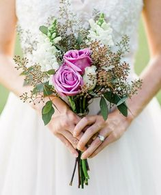 These petite wedding bouquets will have you considering a small bridal arrangement. Small Wedding Bouquets, Wedding Flower Photos, Small Bouquet, Wedding Flowers, Bridesmaid Bouquets, Wedding Ideas, Bridal Bouquets, Wedding Inspiration, Wedding Trends