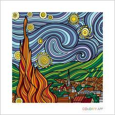 My starry night Dibujos Zentangle Art, Starry Night Art, Van Gogh Art, Van Gogh Paintings, Famous Art, Art Drawings Sketches, Art Plastique, Vincent Van Gogh, Elementary Art