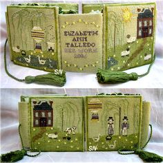 Playful Day Necessaire from Dames of the Needle - Amazing, highly advanced sampler pattern and complete set of matching smalls accessories. Cross Stitch Needles, Cute Cross Stitch, Cross Stitch Designs, Sewing Case, Sewing Box, Sewing Kits, Needle Book, Needle Case, Cross Stitching