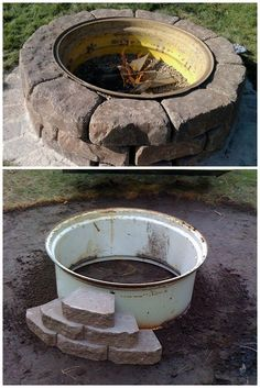 How to make a #DIY fire pit from a repurposed tractor tire. Great #backyard project idea!