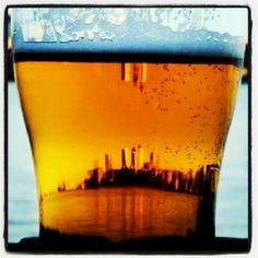 Skyline through beer