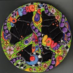 Peace Sign, Mosaic Texture, 6 inch Wooden Wall Art, Psychedelic, 1960s style…