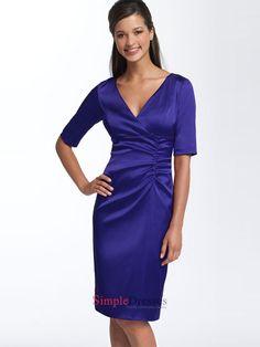 Empire V-neck elbow-length sleeves satin Dress