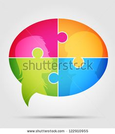 Puzzle - communication 1 - stock vector