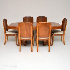 The table and chairs have all been fully stripped and re-polished to a very Antique Dining Tables, Walnut Dining Table, Dining Table Chairs, Dining Suites, Healthy Living Magazine, Healthy Meals For Two, Table Storage, Art Deco Design, Diy Wall
