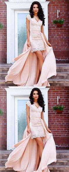 Stunning A-Line Cap Sleeves High Low Short Lace Homecoming Dress with Detachable Train by prom dresses, $159.16 USD