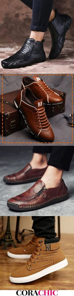 Mens Style Discover Mens Plus Size Casual A&W Shoes On Sale.Good Quality & now! Mens Shoes Boots, Leather Shoes, Men's Shoes, Shoe Boots, Dress Shoes, Boots Women, Mens Fashion Shoes, Sneakers Fashion, Style Masculin
