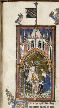 Royal 14 E III   f. 140   King Arthur dictating to scribe