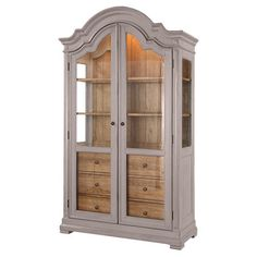 Pairing an arched top with 2 glass doors, this classic display cabinet brings country-chic appeal home. 3 drawers and adjustable shelves add a variety of sto...