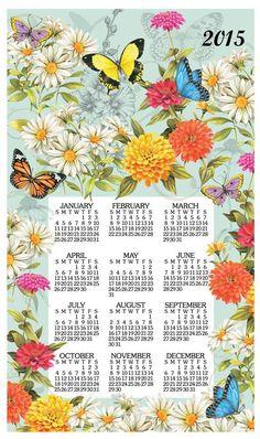 Butterfly Garden Linen Calendar Towel