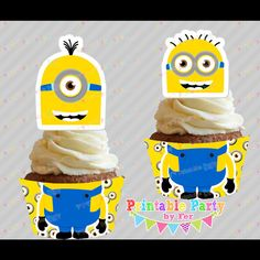 MINION minions Despicable me birthday party printable files cupcake toppers n wrappers supplies