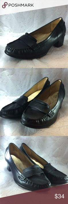 ffdafd4150a71 Strictly comfort black loafer pumps size 8 M This is a very nice pair of  leather penny loafer pumps by strictly comfort size 8 M black in color heel  ...