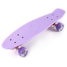 22 Inches Mini Cruiser Banana Style Longboard Pastel Color Board with LED Flashing Wheels - Light Purple - & Entertainment, Skateboarding, Skateboards # # Penny Skateboard, Board Skateboard, Skateboard Design, Pastel Penny Board, Long Skateboards, Mini Skate, Skate Girl, Bike Chain, Colour Board