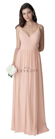 Bill Levkoff Style 1273. Chiffon spaghetti strap sweetheart neckline gown. Open back with spaghetti straps forming a V. A-line skirt with soft gathers. Shell Pink, Sz. 12, $220 available at Debra's Bridal Shop, Philips Hwy., Jacksonville, FL, 32250. 904-519-9900.