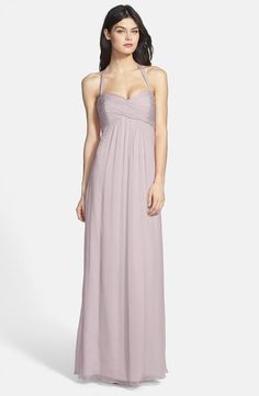 Amsale halter gown in 'opal', a pretty color for weddings at any time of year