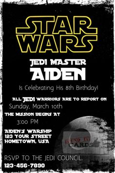 Printable Star Wars Birthday Invitation on my etsy shop! Just $10.00 to print as many as you need.    #Star #wars #printable #birthday #party #invites #invitation #invitations