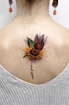 Beautiful And Meaningful Butterfly Tattoo Guide Sunflower tattoo – Fashion Tattoos Sunflower Tattoo Shoulder, Sunflower Tattoo Small, Sunflower Tattoos, Butterfly On Flower Tattoo, Unique Butterfly Tattoos, Sunflower Tattoo Sleeve, Tattoo Flowers, Sunflower Mandala Tattoo, Watercolor Sunflower Tattoo