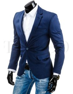 Pánské stylové sako - Lermont, modré Blue Blazer Outfit, Blazer Outfits, Suit Jacket, Suits, Jackets, Men, Fashion, Pints, Knights