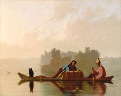 George Caleb Bingham (American, 1811-1879). Fur Traders Descending the Missouri, 1845. The Metropolitan Museum of Art, New York. Morris K. Jesup Fund, 1933 (33.61) | Mist and silence, impenetrable and bewitched, mark the scene. In fact, Bingham portrayed a form of trading long since outmoded by the mid-nineteenth century, but the painting captivated Easterners who saw it exhibited in New York. #OneMetManyWorlds